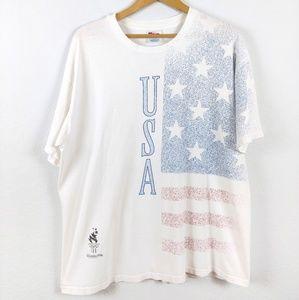 Vtg 1996 Atlanta Olympics USA Made Flag Tshirt